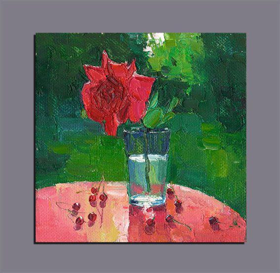 Rose Still Life Original Oil Painting Palette Knife Painting