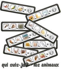 Voici un nouveau jeu composé de 24 planches . Les enfants doivent regarder les indices et trouver l'animal dont il s'agit, et placer la bonne carte sur le point d'interrogation. C'est également l'occa