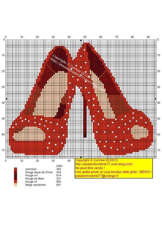0 point de croix chaussures rouges - cross stitch red shoes
