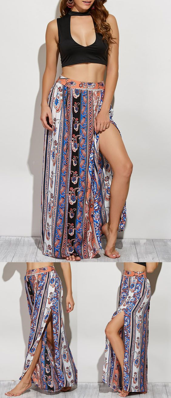 Up to 80% OFF! Paisley Pattern High Slit Maxi Skirt. #Zaful #Pants Printed Cover Up Tulip Pants bottoms,shorts,jumpsuits,rompers,playsuits,jumpsuits casual,jumpsuits outfits,rompers outfit,rompers summer,playsuit outfit,playsuit pattern,wide leg jumpsuit,romper dress,cute rompers,two piece outfits,two piece outfits pants,floral jumpsuit,two peices set,pants,wide leg pants, pants outfits,pantsuits,shorts outfits,skirt,skirts outfits,skirts with tights,two pieces sets @zaful Extra 10% OFF…
