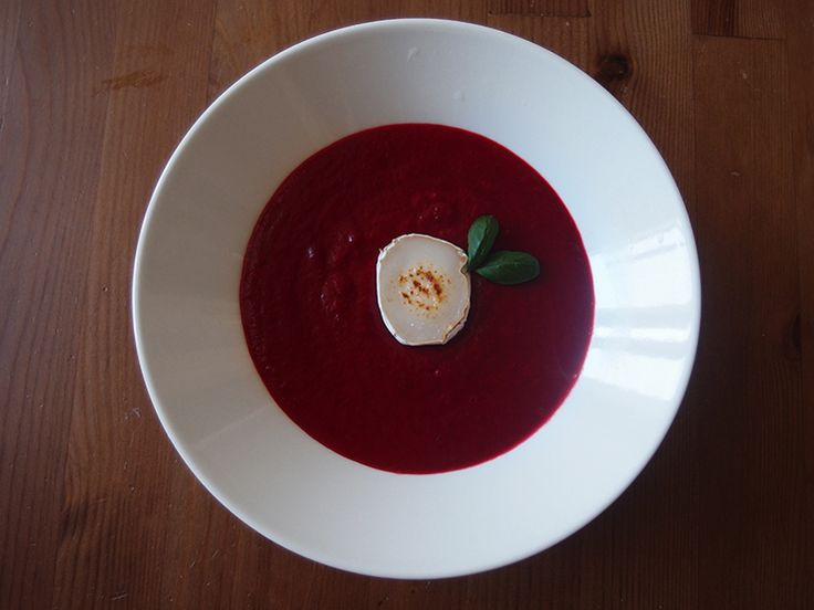 soup of beetroots, potatoes, carrots and apple