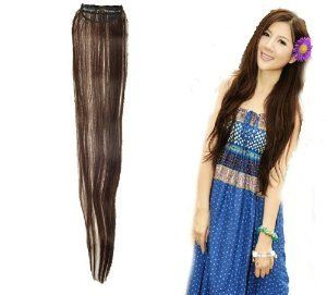 """One Fashionable 23"""" Long Dark Brown Straight Synthetic Clip on Hair Extension by SEXY SPARKLES. $8.99. One Fashionable 23"""" by 3 1/8"""" wide Long Dark Brown Straight Synthetic Clip on Hair Extension. *1 X One Piece long Straight synthetic hair extension clip-on. Size: One-size-fits-most"""" and work for both men and women. Texture: straight. One Fashionable 23"""" Long Dark Brown Straight Synthetic Clip on Hair Extension"""