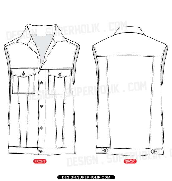 Fashion design templates, Vector illustrations and Clip-artsDenim vest template - Royalty free fashion vector templates