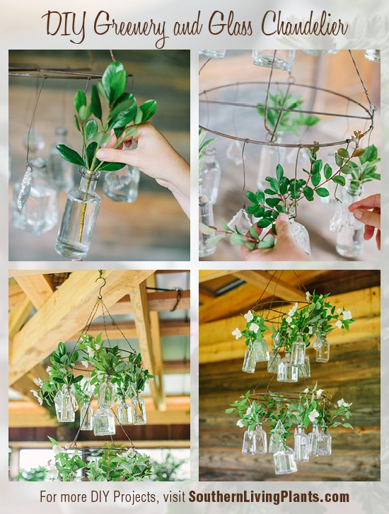 A DIY chandelier inspired by nature and vintage glass.