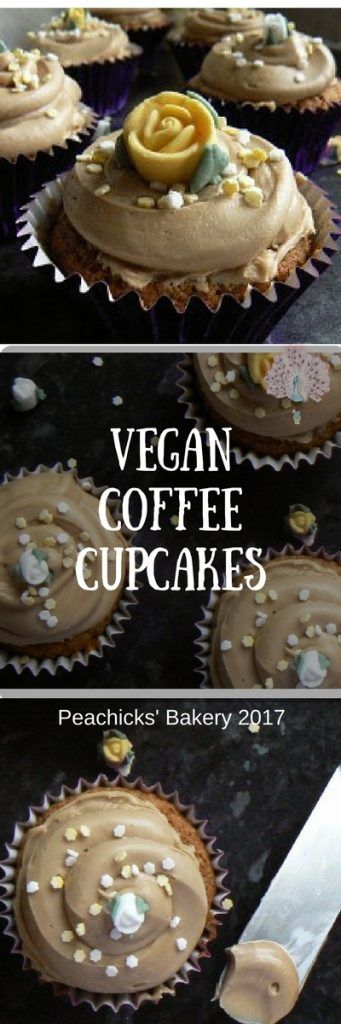 Pretty Vegan Coffee Cupcakes - Perfect for Mother's Day & Afternoon Tea. Peachicks' Bakery 2017