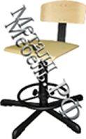 Промышленный винтовой стул с деревянным сидением и спинкой
