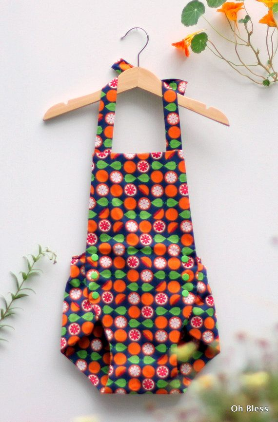 Retro vintage toddler playsuit with halter neck straps by OhBless