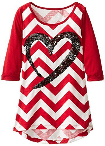 One Step Up Big Girls' Chevron Stripe Top with Heart, Jester Red, Small. Sequin applique on front. Amazing chevron print.