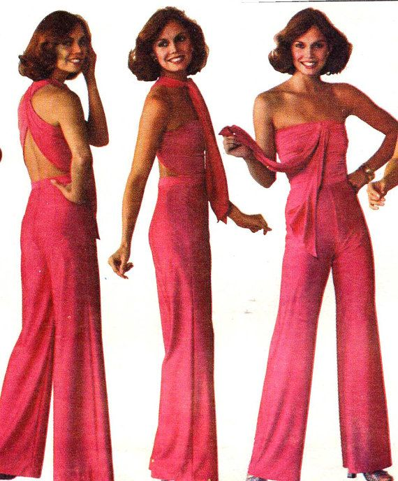 Disco 70s Simplicity 7957 Jiffy Wonder Wrap Multi Wrap Jumpsuit Vintage Sewing…