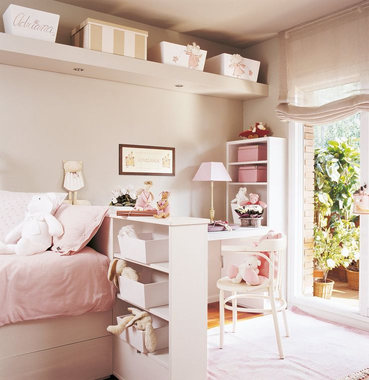 Not pink but like the furniture placement, and bookshelf