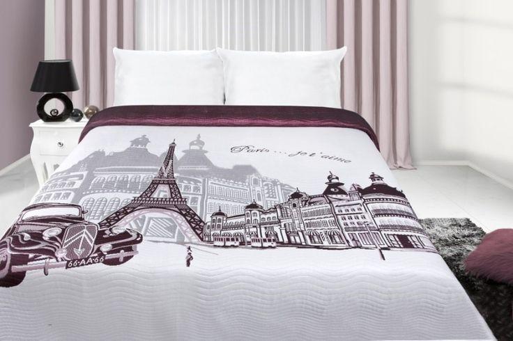 Prehoz na manželskú posteľ bielo fialovej farby s motívom mesta Paríž