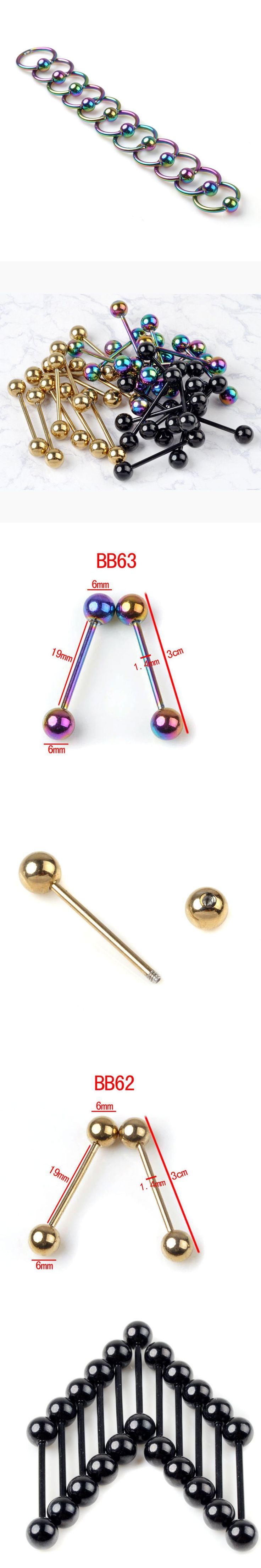 1 Piece Stainless Steel Curved Eyebrow Nose Lip Nipple Bead Ring Tongue Piercings Punk Unisex Body Jewelry Wholesale