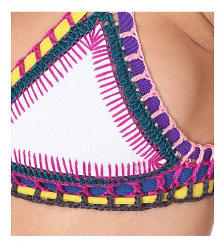 KIINI Yaz crochet-detailed bikini top (White multi