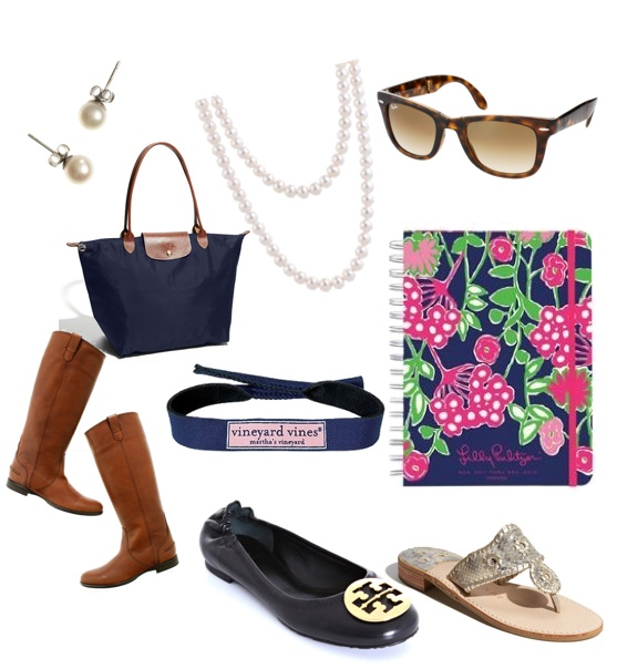 A sorority girl's must haves: I own pretty much all of these except for stud earrings and the tory burch flats
