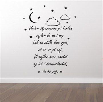 Tekst med - Under stjernerne på himlen wallsticker