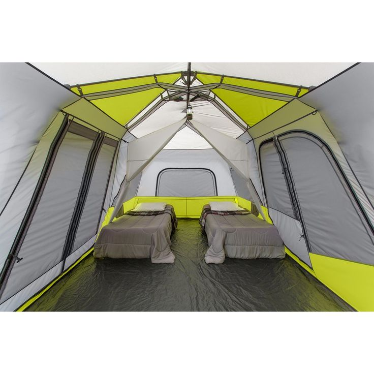"""- Features - Product Overview - Instant 2 minute setup - Sleeps 12 people - Fits three queen air mattresses - Center Height: 80"""" - CORE H2O Block Technology and adjustable ground vent - Features two r"""
