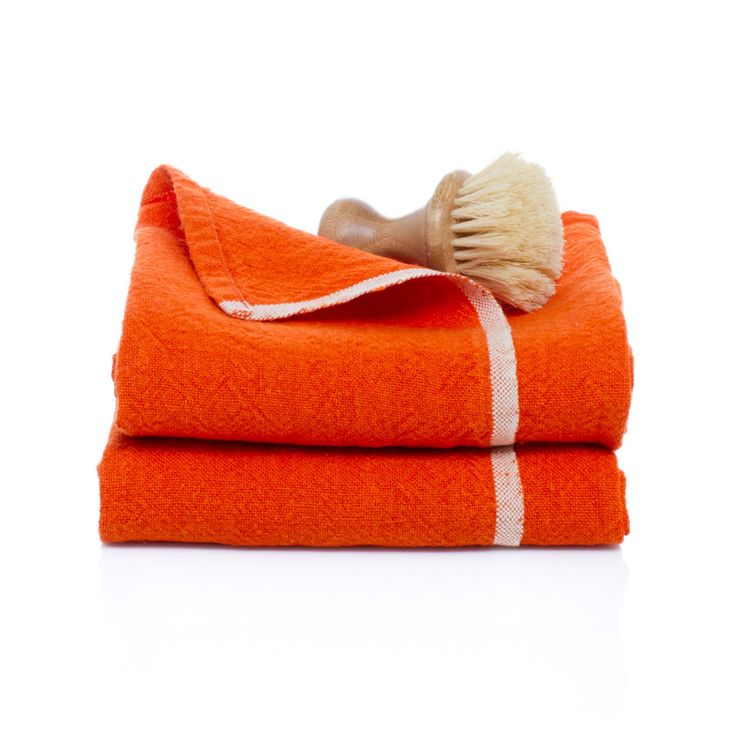Chunky Linen Orange Hand Towels, Set of 2
