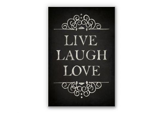 Hartschaum-Wandbild in Tafel-Optik - Live Laugh Love | wall-art.de
