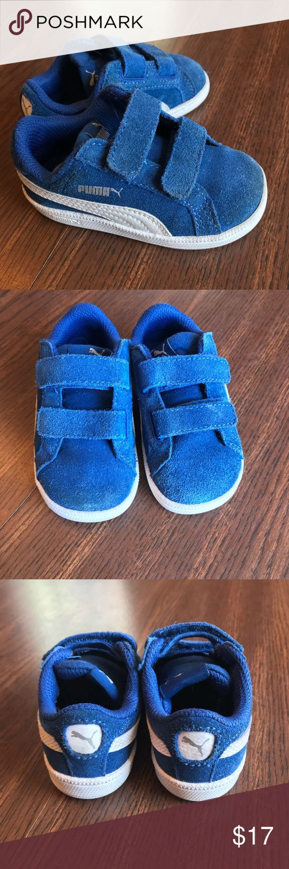 """Puma Smash toddler sneakers Puma Smash toddler sneakers size 5. EUC (see photos).   """"Cute and sporty, the Smash V2 low-top kicks from Puma will be the best pair of sneakers to add to his growing shoe collection.""""  I have been the only owner of this item. I am not a consigner. Smoke free home. Please check out my other listings to bundle (and receive an automatic 10% discount!!), and save on shipping. Thank you for looking!! Puma Shoes Sneakers"""