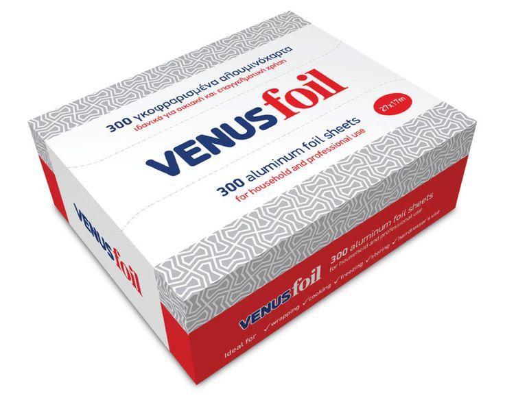 """""""VENUS foil POP-UP"""" Φύλλα Αλουμινίου ανάγλυφα, διαστάσεων 27cm μήκος x 17cm πλάτος. Διατίθενται σε συσκευασία των 300 τεμαχίων διπλωμένα ένα-ένα, έτοιμα προς χρήση"""