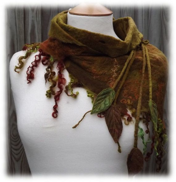 Winter Forest Cowl - Elven winter cowl - felted cowl - rustic cowl - olive green cowl