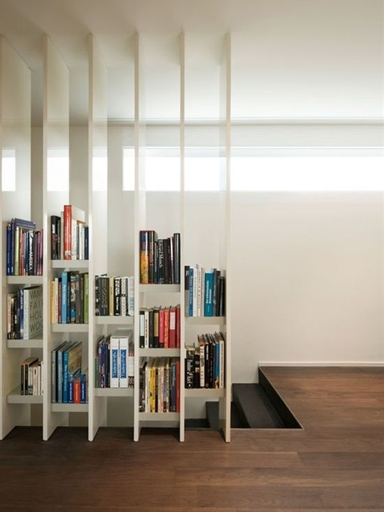 I love the style of these  book shelves.