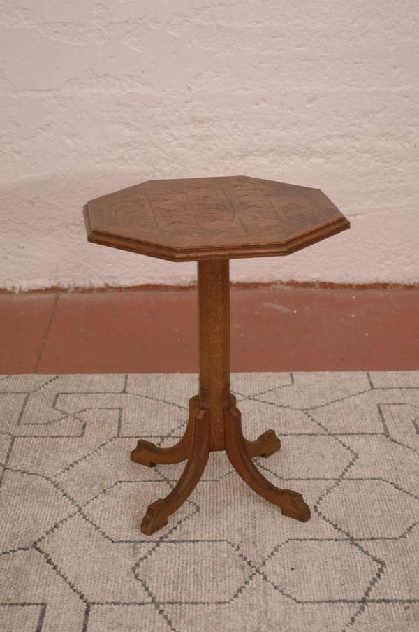 Antique Oak Carved Octagonal Pedestal End Table