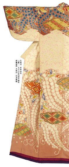 Kimono using tsujigahana technique, by artist dyer Kubota Itchiku, Japan