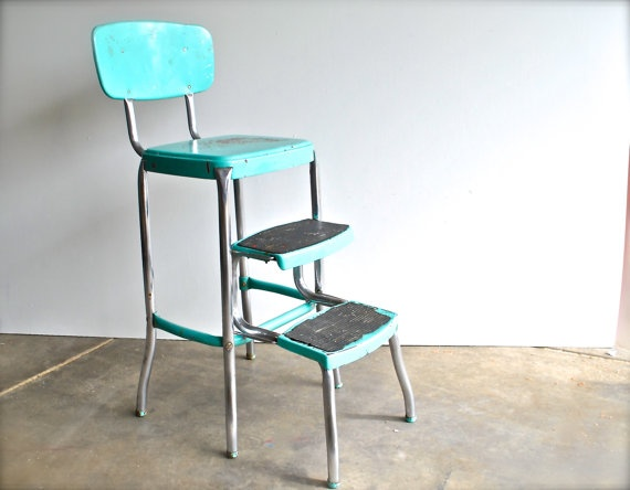 Vintage Step Stool Aqua Blue Chippy Paint by charliesnest on Etsy $84.50 & 21 best step stool redo images on Pinterest | Step stools Kitchen ... islam-shia.org