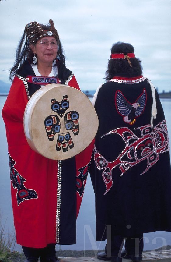 Tlingit women in traditional dress at Kake on Kupreanhof Island