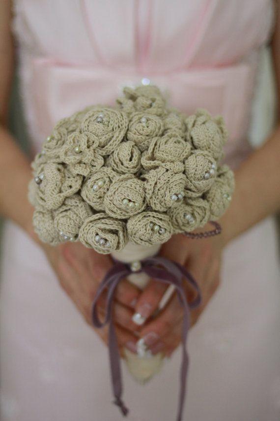 Crocheted vintage bridal bouguet