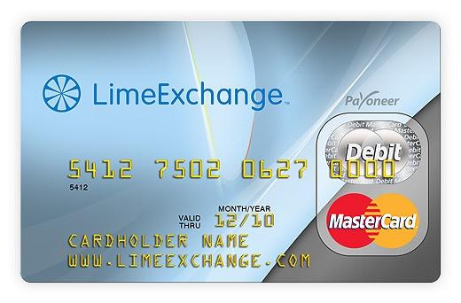 LimeExchange branded Payoneer card