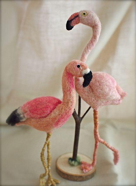 Needle felted Flamingo  by natsuko.m @Elizabeth Lockhart Lockhart Lockhart Polansky (learn how to felt!!)
