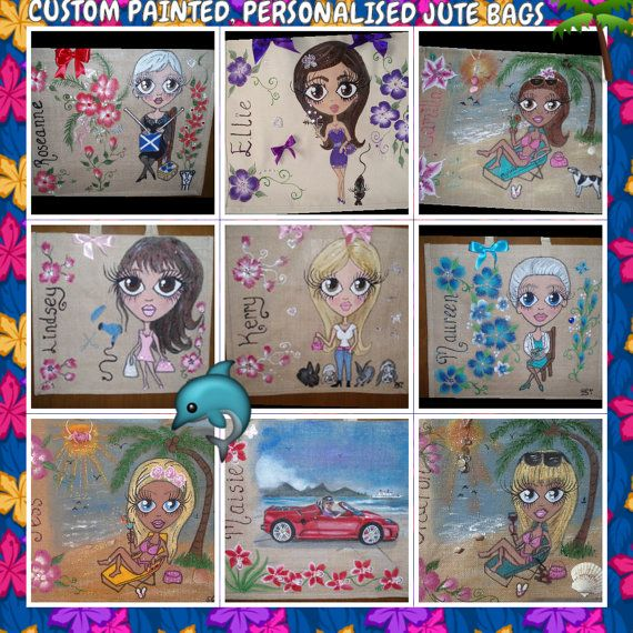 Personalised jute bags hand painted jute bags. large by Aligri, €24.00