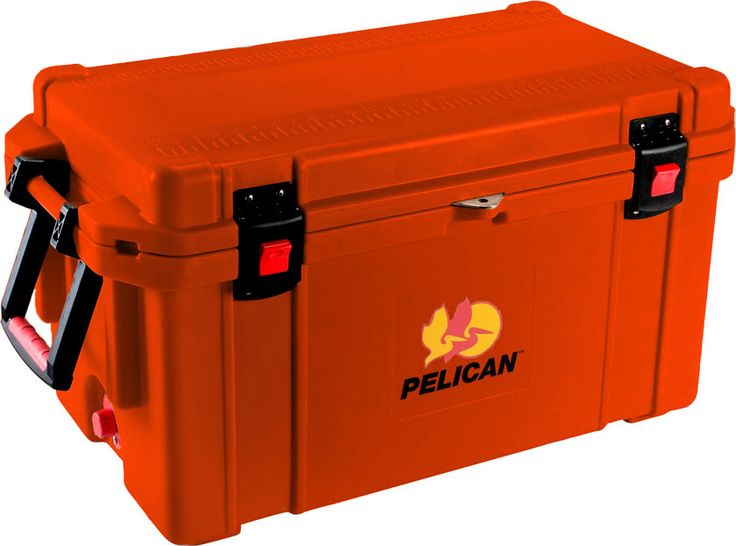 """65 Quart Orange Cooler: The quality you've come to expect from Pelican now also matches your favorite things in life! Don't worry about your tailgaiting grub getting too warm or your team's water bottles not staying cold enough. Up to 10 days ice retention*, freezer grade gasket, 2"""" polyurethane insulation, Guaranteed for life, Assembled in the USA, Bear resistant certified from the Interagency Grizzly Bear Committee."""