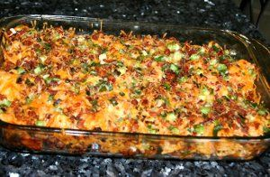 Here we have 2 amazing foods in one main dish casserole. A loaded baked potato and buffalo chicken are combined to get Loaded Potato Buffalo Chicken Casserole. It's the best of both dishes and you're sure to love it. Bacon, green onion, cheese, and hot sauce surround the chicken and potatoes. Can you say man food?