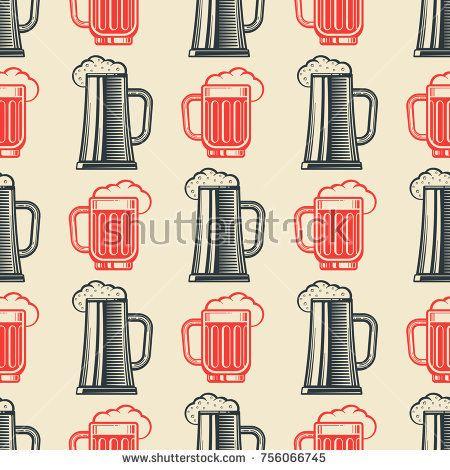 Stock Vector: Vintage beer glasses semless pattern. Retro background. Vector flat illustration -