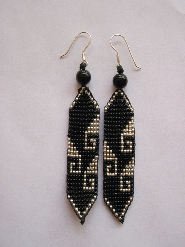 Free+Seed+Bead+Earring+Patterns | Black and Silver Mexican Greca Beaded by pachamamanativeart