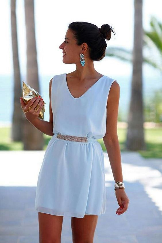 28 Gorgeous Bachelorette Outfits With A Wow Factor: #28. White mini dress with a V-neck and accessories that make the whole outfit
