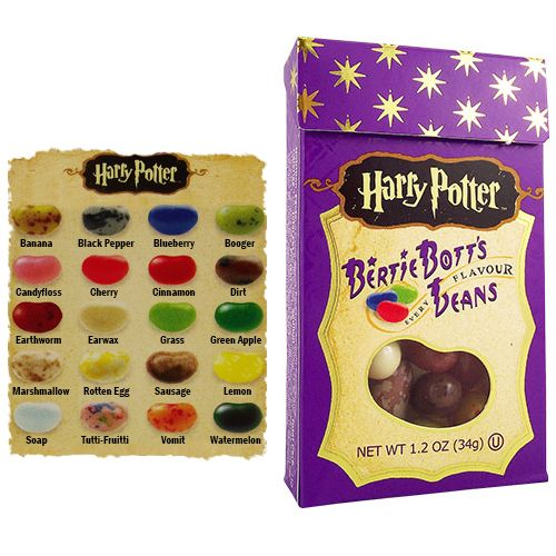Harry Potter Bertie Bott's Every Flavour Jelly Beans provide a risk with every bean! With up to 20 flavours in every box, these jelly beans COULD be tasty marshmallow or tutti-frutti...or they could be disgusting soap or gross earwax! Are you brave enough to try them?