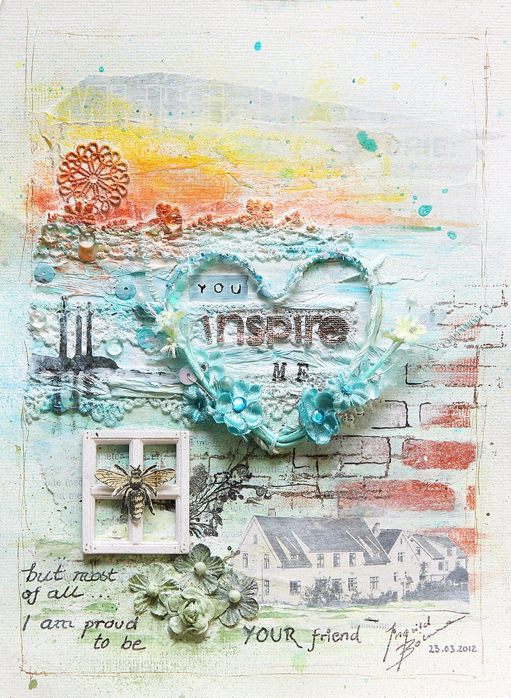 """You Inspire Me"" - Art Journal page  Shabby Chic Resin Treasure window  USed Chalk Edgers on techniques."