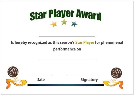 Volleyball star player award certificate