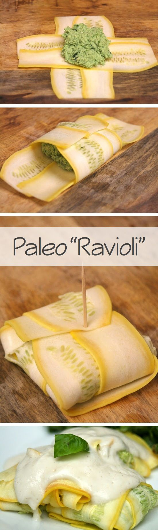 "Paleo ""Ravioli"" - made these both with white sauce and with red sauce. I personally prefer them with a homemade sauce made with crushed tomatoes, garlic, onion and basil."