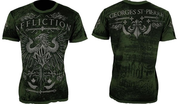 Affliction Georges St Pierre UFC 129 walkout tee in Military Green.