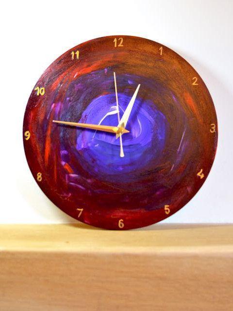 Vibrant Abstract Art Clock, wooden non-ticking wall clock, 25cm, Practical art, Purple and red art clock, handmade wall clock, Colourful art by ArtDecadance on Etsy