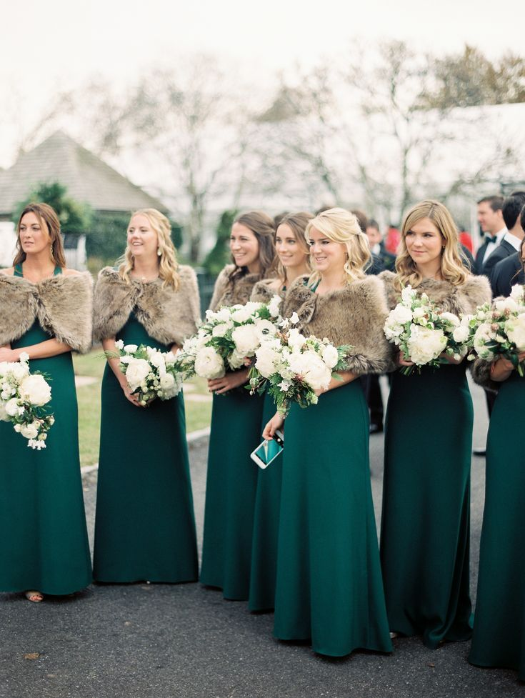 Take A Peek At A Wedding Inspired By Ralph Lauren S Iconic Style Green Bridesmaid Dress Winter Emerald Green Bridesmaid Dresses Winter Bridesmaid Dresses