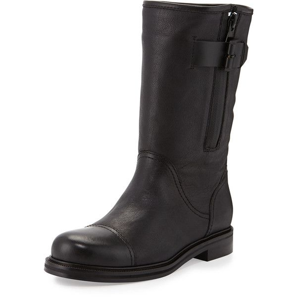 Aquatalia Baily Leather Moto Boot (1.075 BRL) ❤ liked on Polyvore featuring shoes, boots, black, mid-calf boots, low heel boots, black motorcycle boots, black mid calf boots and biker boots