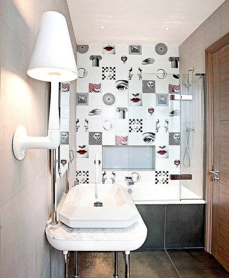 Decorating Ideas: Posh Bathroom Design With Striking Bathroom Tiles Inspired By Fornasetti Designs Coupled With Modern Wall Lamp And Unique Vanity: Piero Fornasetti Interior Decor Ideas