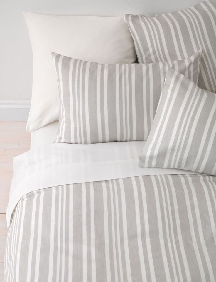 Denim stripe dove grey duvet cover