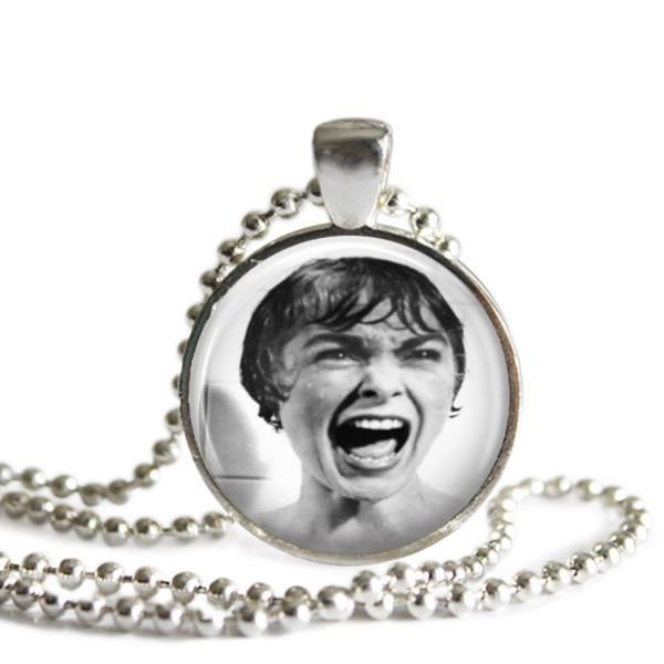Alfred Hitchcock's Psycho Shower Scene Silver Plated Picture Pendant Necklace Marion Crane